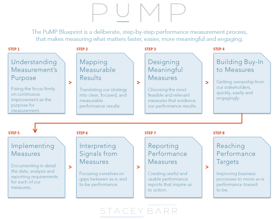 The eight steps of the PuMP Performance Measure Blueprint