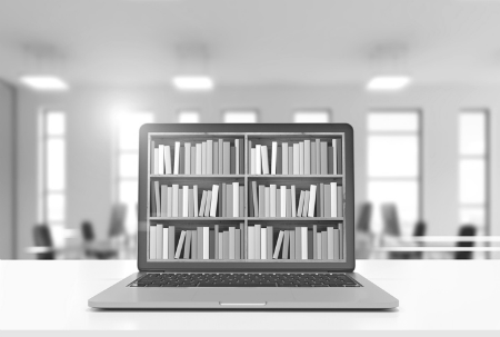Library on laptop screen