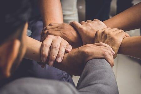Hands were a collaboration concept of teamwork. Credit: https://www.istockphoto.com/au/portfolio/manop1984