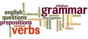 word cloud of grammatical terms