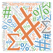 equation symbols in a word cloud