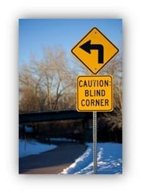 road sign for blind corner