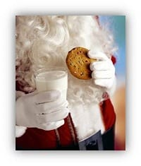 Santa with cookies and mil